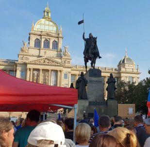 Účastníci pochodu dne 21. srpna 2019 na Václavském náměstí