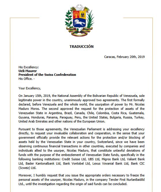 Dopis Guaidá Mauerovi