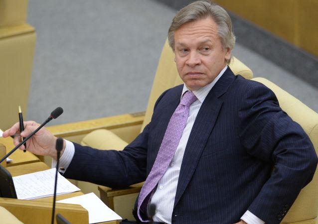 Předseda zahraničního výboru ruské Státní dumy Alexej Puškov