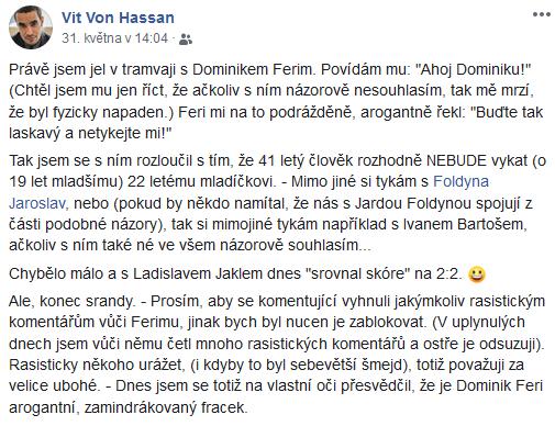 Facebookový příspěvek českého fotografa Víta Hassana.