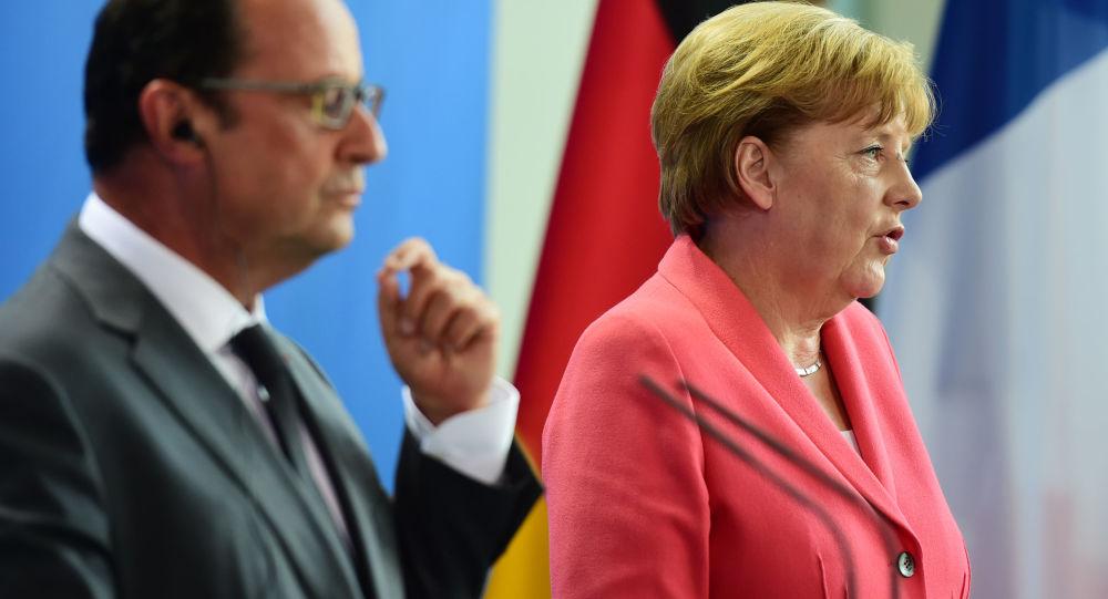 Kancléřka SRN Angela Merkelová a prezident Francie Francois Hollande