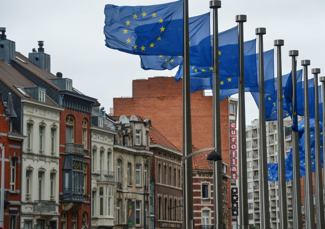 Vlajky EU vedle budovy EK v Bruselu