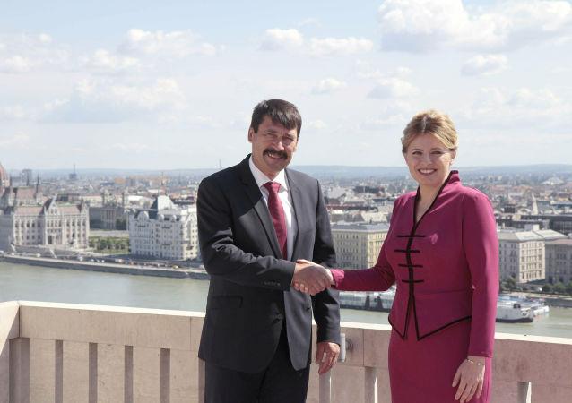 Maďarský prezident János Áder a prezidentka Slovenska Zuzana Čaputová 11.července 2019 v Budapešti