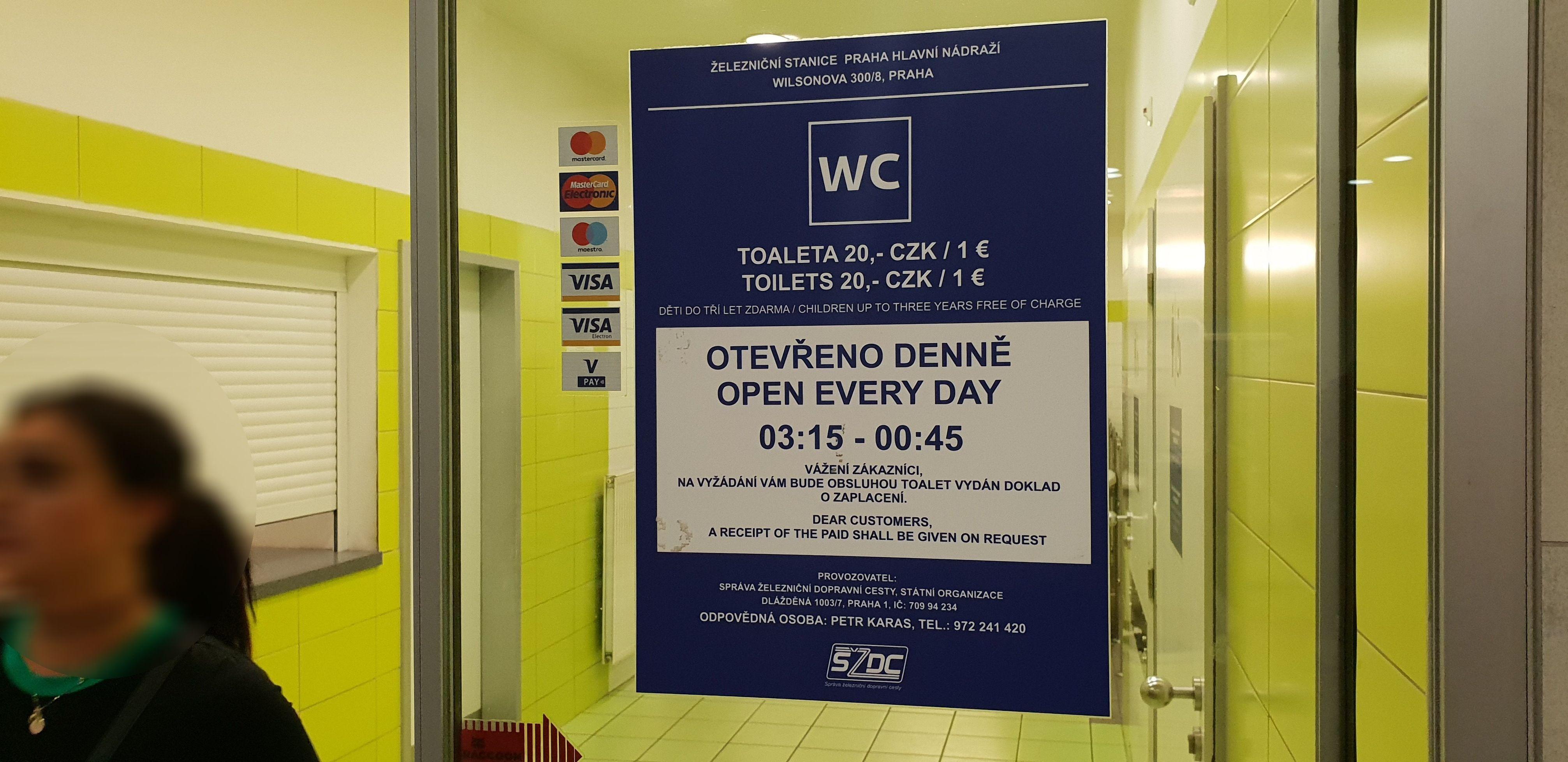 Obrázek 2. Cena za WC v Praze na Hl. nádraží