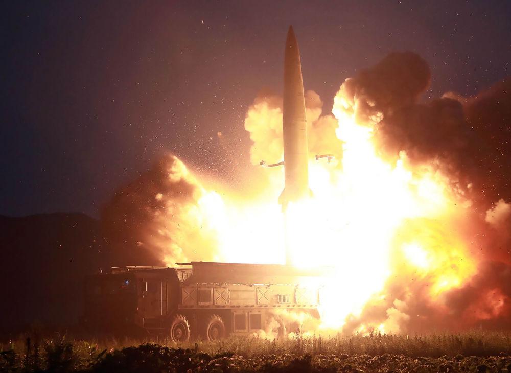 Start nové balistické rakety v Severní Koreji.
