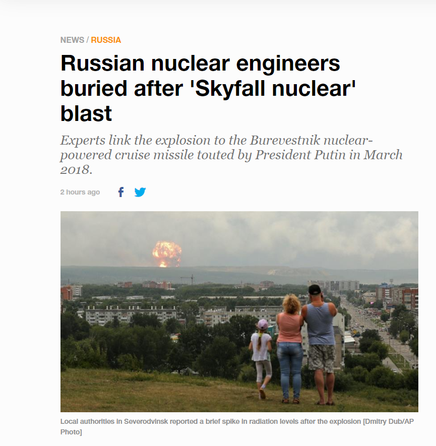 Aljazeera mistakingly uses the wrong photo in its latest article titled Russian nuclear engineers buried after 'Skyfall nuclear' blast