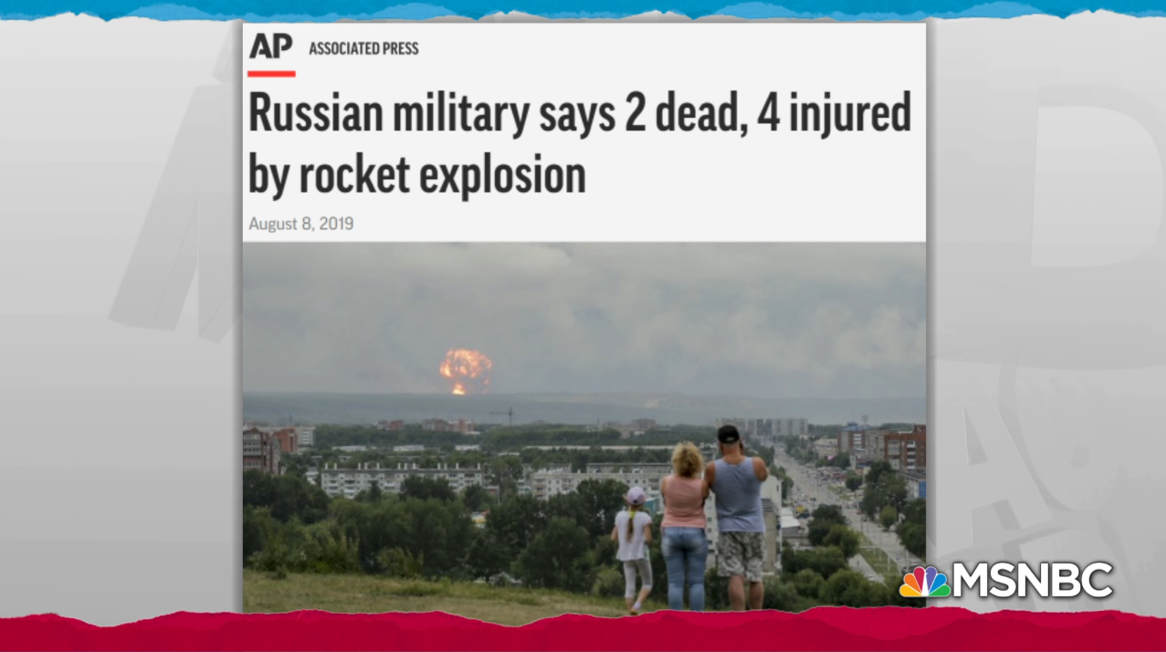 Similarly, MSNBC used the same photo for their story titled Nuclear incident in Russia points to attempt at new missile engine.