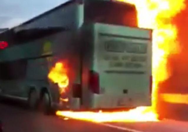 Požár českého autobusu v Chorvatsku
