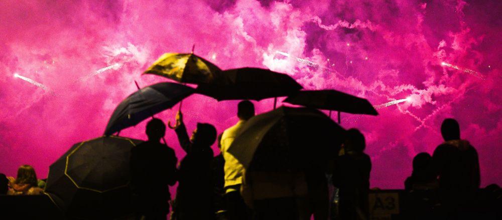 Ohňostroje na mezinárodním festivalu Rostěсh v Moskvě