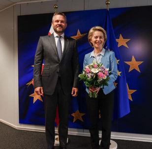 Slovenský premiér Peter Pellegrini s předsedkyní Evropské komise Ursulou von der Leyenovou