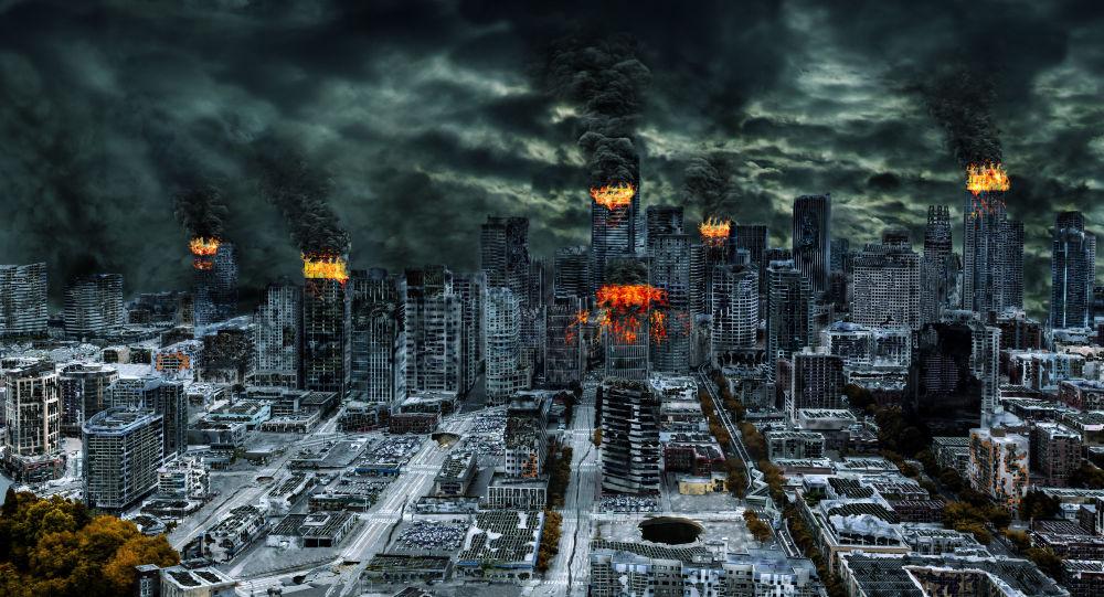 Zničené město po jaderném útoku