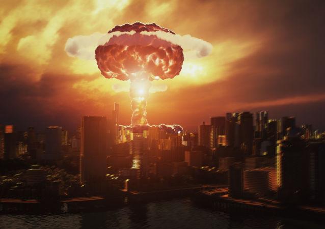 3D vizualizace výbuchu jaderné bomby nad městem