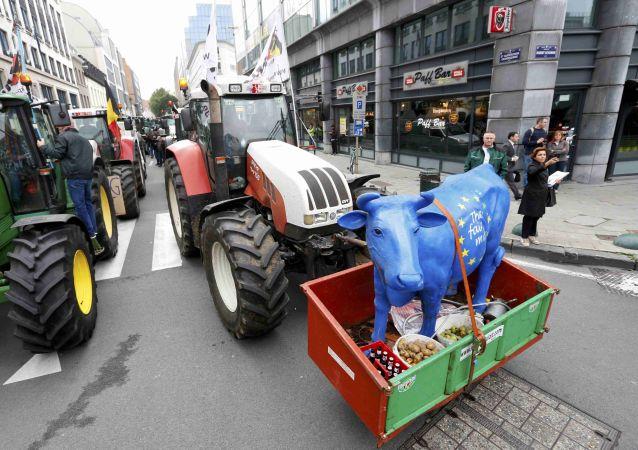 """Přes 5 tisíc farmářů obklíčilo """"evropskou čtvrť"""" v Bruselu"""