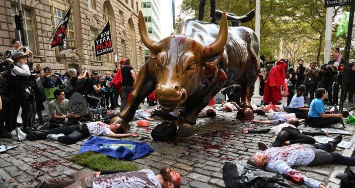 Aktivisté Extinction Rebellion v New Yorku dne 7. října 2019