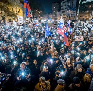 Pochod Za slušné Slovensko v Bratislavě