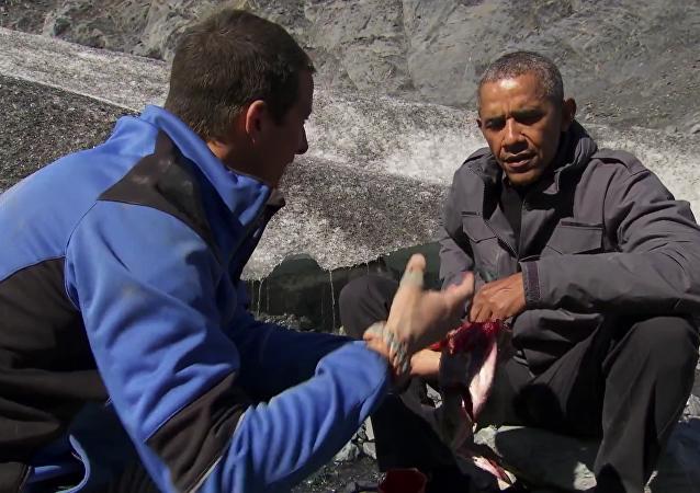 Nutné k přežití: Barack Obama a Bear Grylls uvařili rybu v divočině