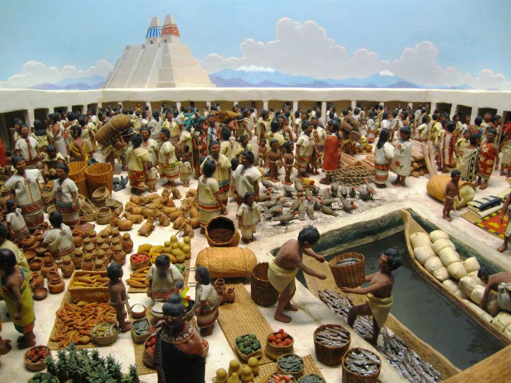 Maketa aztéckého trhu Tlatelolco v polním muzeu přírodní historie v Chicagu
