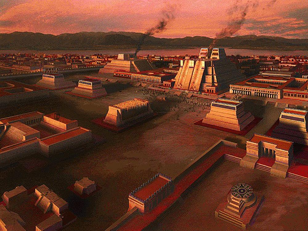 Umělecké znázornění Tenochtitlánu