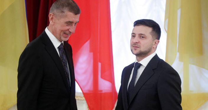 Český premiér Andrej Babiš a ukrajinský prezident Vladimir Zelenskij v Kyjevě