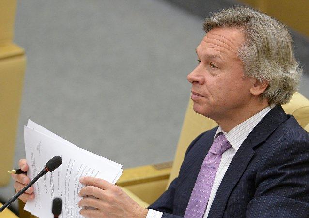 Předseda zahraničního výboru Státní dumy Alexej Puškov.