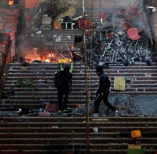 Protesty zasáhly i hongkongskou polytechnickou univerzitu (18. 11. 2019)