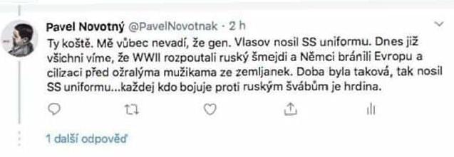 Tweet Pavla Novotného s podporou nacistů
