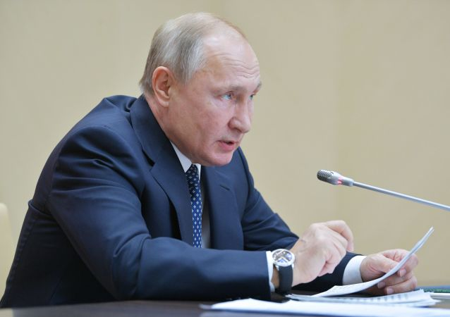 Russian President Vladimir Putin is meeting with permanent members of the Russian Security Council on 22 November 2019.