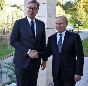 Prezident Srbska Aleksandar Vučić a prezident Ruska Vladimir Putin.