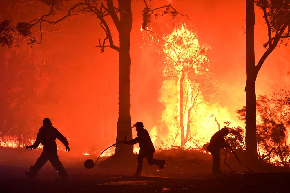 Dobrovolníci, hasiči a záchranáři z Nového Jižního Walesu hasí požár u vesnice Termeil v Austrálii.