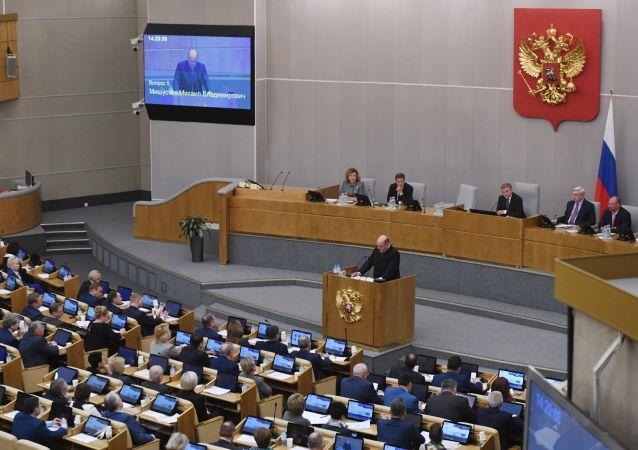 Michail Mišustin ve Státní dumě RF