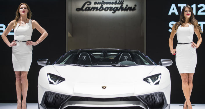 Expozice Lamborghini na automobilovém salonu ve Frankfurtu nad Mohanem.