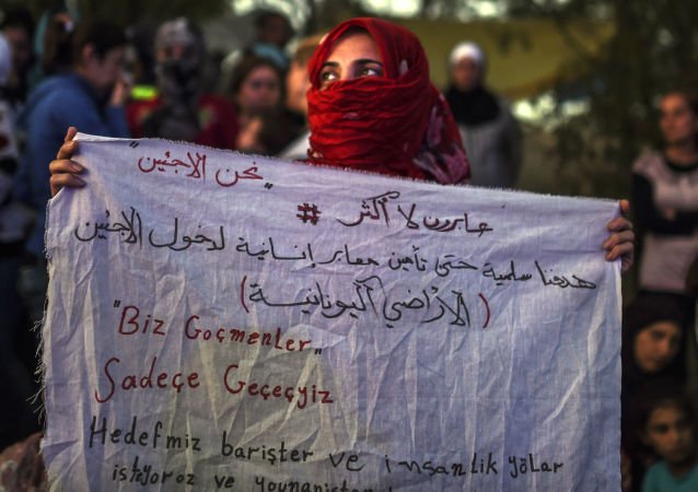 Syřanka s plakátem