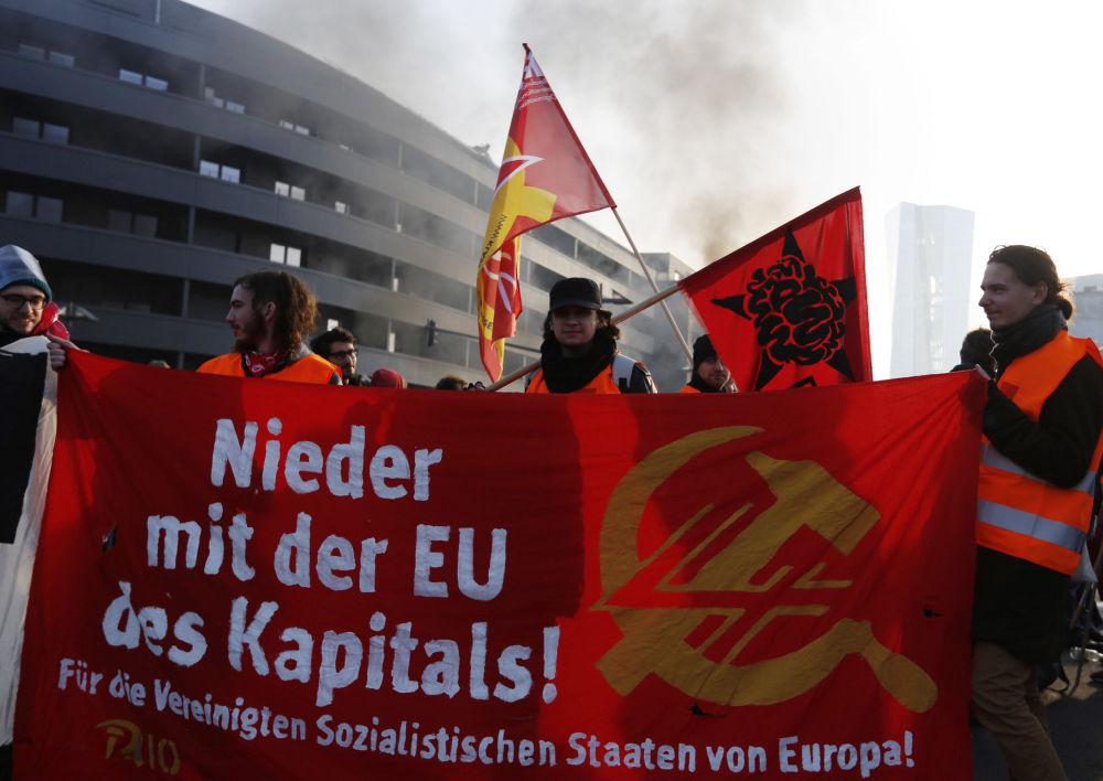Protestní akce ve Frankfurtu