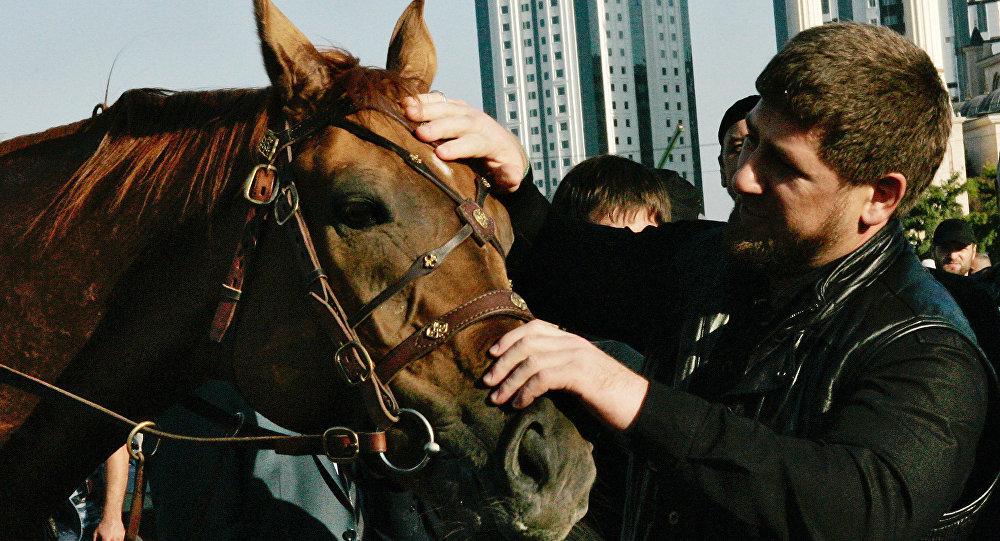 Hlava Čečenska Ramzan Kadyrov a kůň