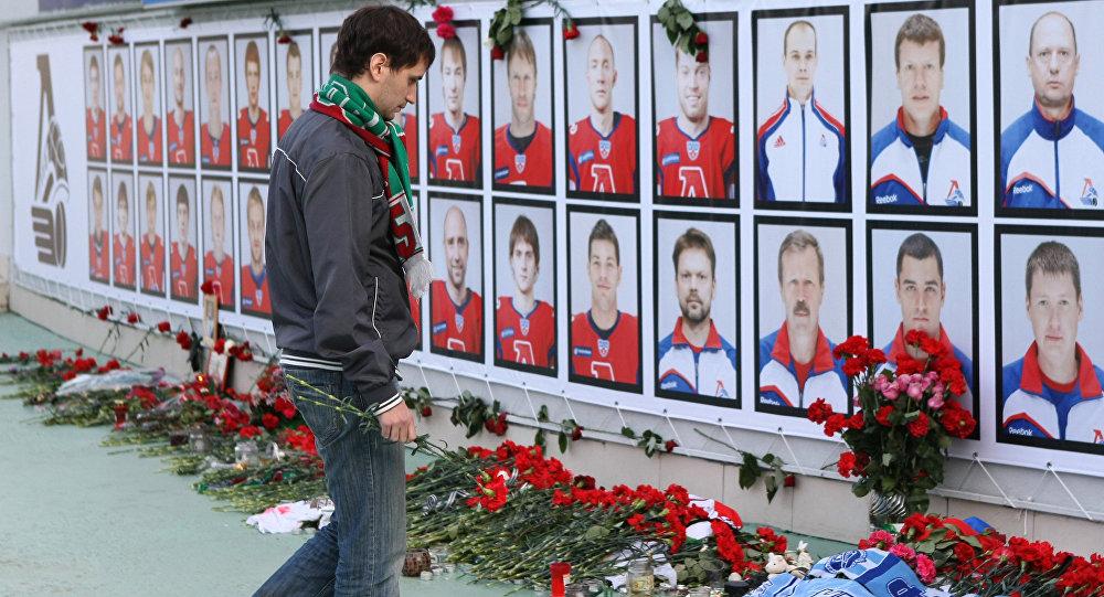 Fotografie zahynulých hokejistů HC Lokomotiv Jaroslavl