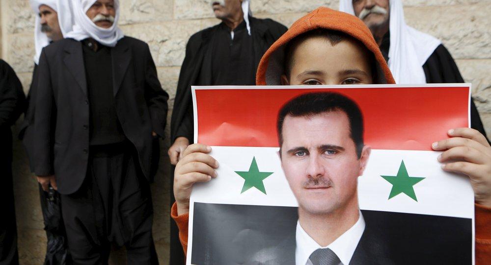 Portrét syrského prezidenta Bašára Asada