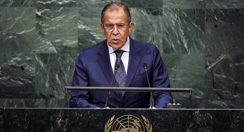 Ruský ministr zahraničních věcí Sergej Lavrov během svého vystoupení na summitu OSN o Globálním programu v oblasti rozvoje na období po roce 2015