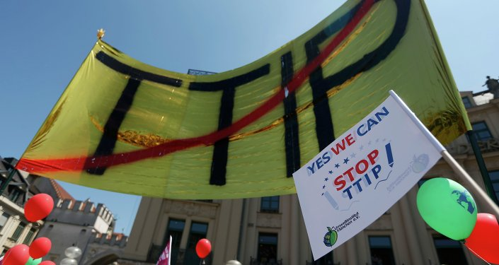 Demonstrace proti TTIP v Mnichovu