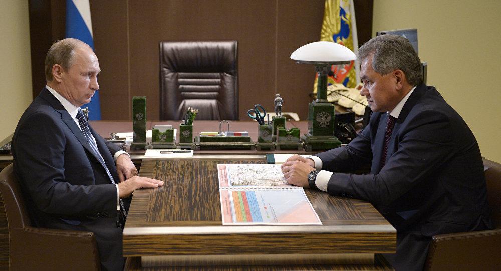 Ministr obrany Sergej Šojgu na setkání s prezidentem RF Vladimirem Putinem