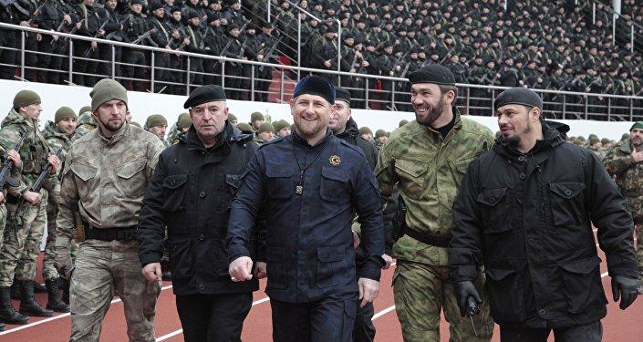 Hlava Čečni Ramzan Kadyrov na stadionu Dinamo v Groznem