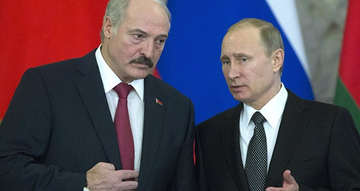 Běloruský prezident Alexander Lukašenko a ruský prezident Vladimir Putin