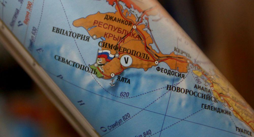Mapa Evropy, kde je Krym součástí Ruska