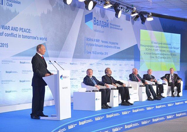 Ruský prezident Vladimir Putin na zasedání diskusního klubu Valdaj