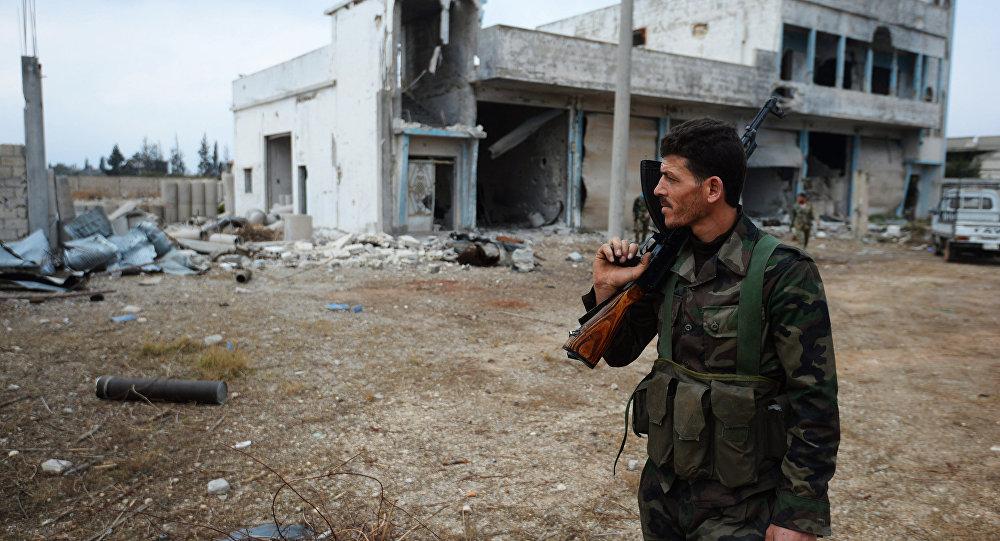 Syrský voják v Homsu