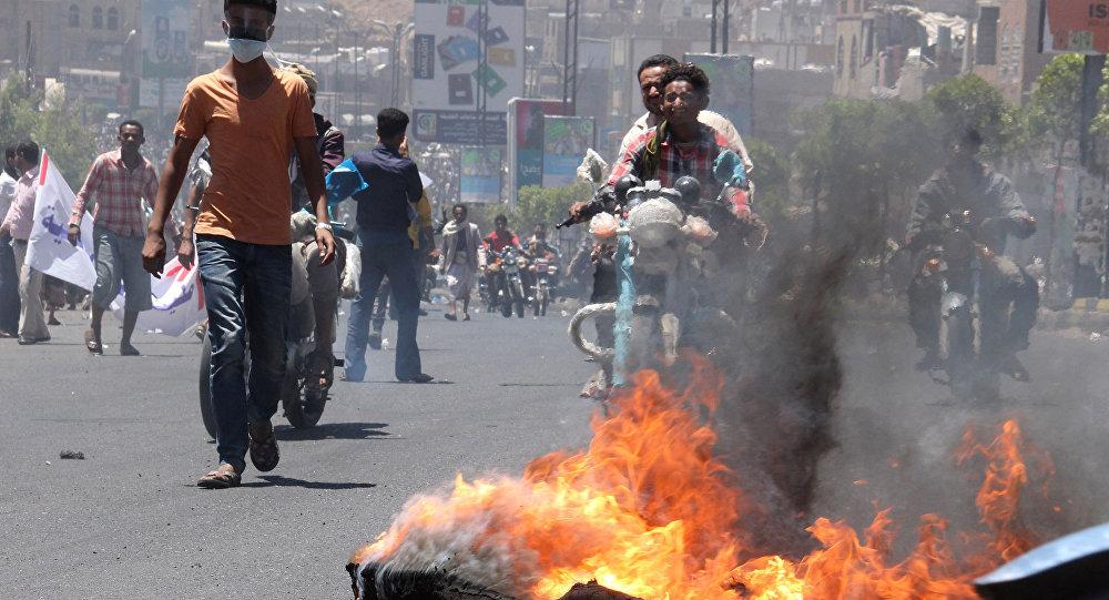 Protesty ve městě Táizz