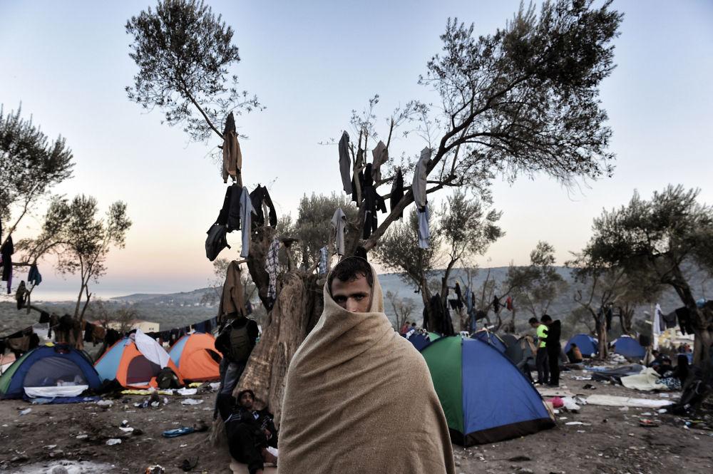Uprchlík na řeckém ostrově Lesbos