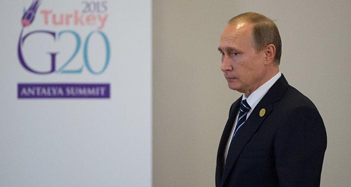 Ruský prezident Vladimir Putin na summitu v Turecku