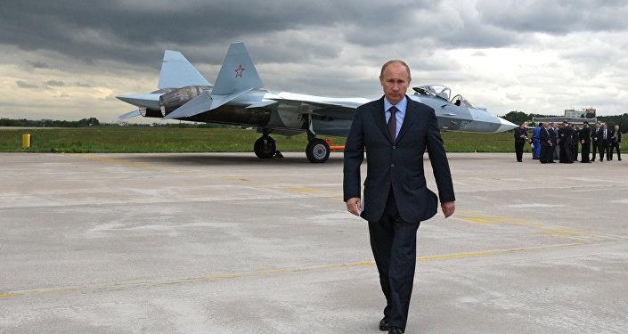 Ruský prezident Vladimir Putin na letecké základně