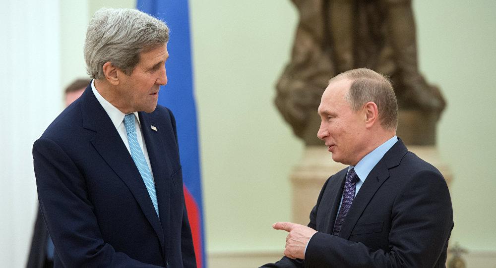 John Kerry a Vladimir Putin