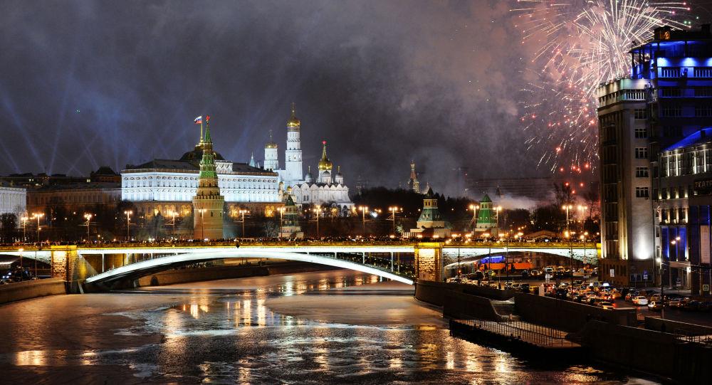 Ohňostroj nad Moskvou